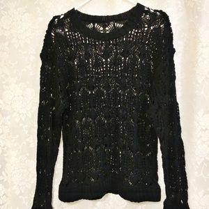 ETHYL Crochet Cotton Crew Neck Black Sweater L